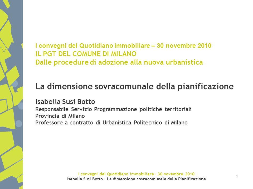 I convegni del Quotidiano immobiliare – 30 novembre 2010 Isabella Susi Botto – La dimensione sovracomunale della Pianificazione 1 I convegni del Quoti
