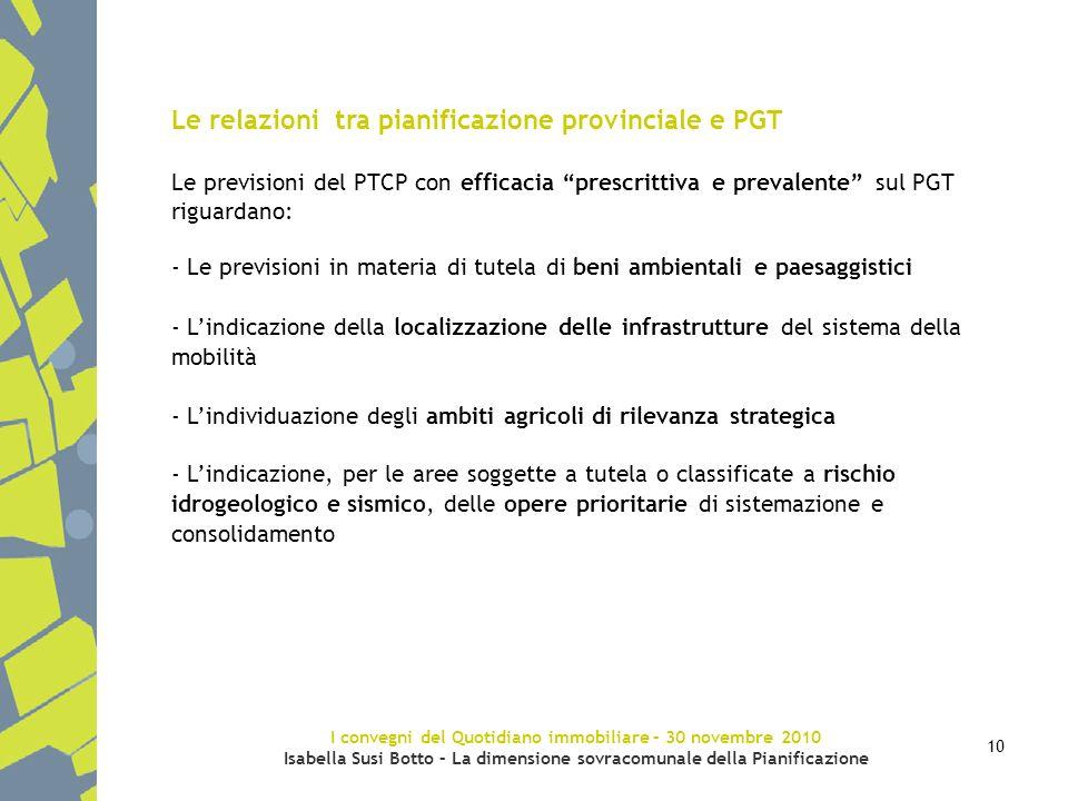 I convegni del Quotidiano immobiliare – 30 novembre 2010 Isabella Susi Botto – La dimensione sovracomunale della Pianificazione 10 Le relazioni tra pi