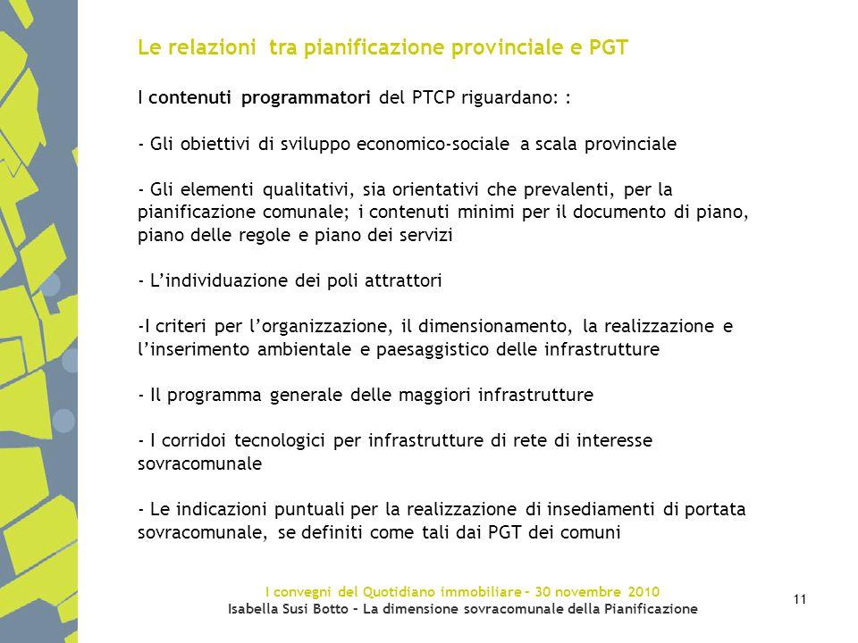 I convegni del Quotidiano immobiliare – 30 novembre 2010 Isabella Susi Botto – La dimensione sovracomunale della Pianificazione 11 Le relazioni tra pi