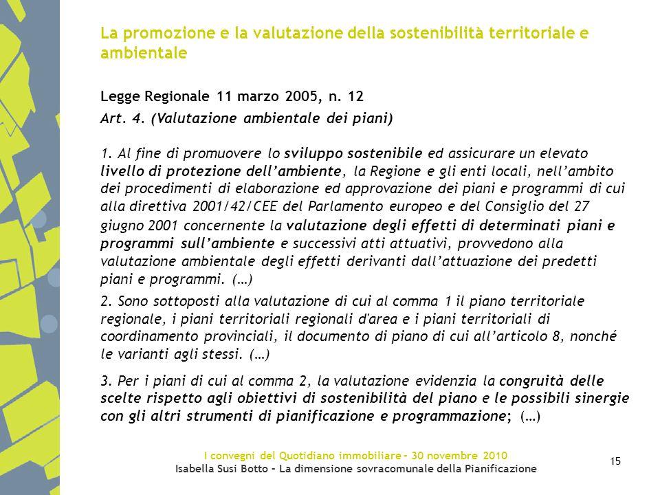 I convegni del Quotidiano immobiliare – 30 novembre 2010 Isabella Susi Botto – La dimensione sovracomunale della Pianificazione 15 La promozione e la