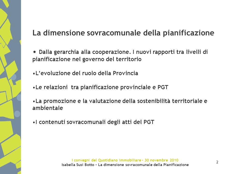 I convegni del Quotidiano immobiliare – 30 novembre 2010 Isabella Susi Botto – La dimensione sovracomunale della Pianificazione 2 La dimensione sovrac