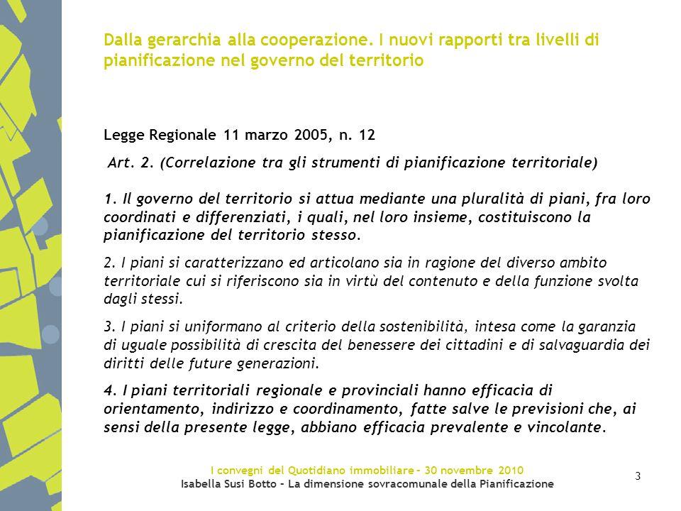 I convegni del Quotidiano immobiliare – 30 novembre 2010 Isabella Susi Botto – La dimensione sovracomunale della Pianificazione 3 Dalla gerarchia alla