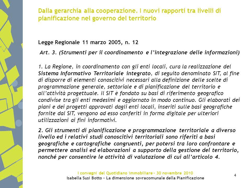 I convegni del Quotidiano immobiliare – 30 novembre 2010 Isabella Susi Botto – La dimensione sovracomunale della Pianificazione 4 Dalla gerarchia alla