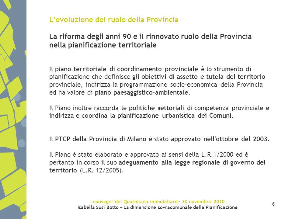 I convegni del Quotidiano immobiliare – 30 novembre 2010 Isabella Susi Botto – La dimensione sovracomunale della Pianificazione 6 Levoluzione del ruol