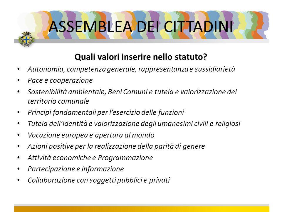 ASSEMBLEA DEI CITTADINI Quali valori inserire nello statuto.