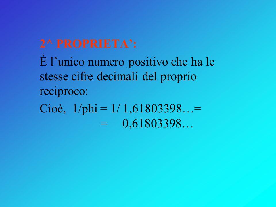 SEZIONE AUREA E NUMERO DORO phi= x/(1-x) = = 0,61…/(1-0,61…) = = 1,61803… 1^ PROPRIETA: phi = x + 1 cioè: i due numeri hanno la stessa parte decimale