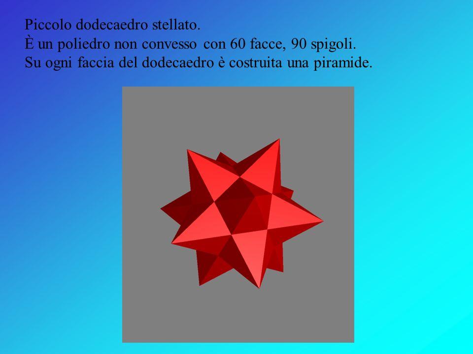 Dodecaedro. È un poliedro regolare con 12 facce pentagonali e 30 spigoli.