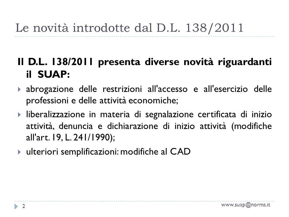 Le novità introdotte dal D.L. 138/2011 Il D.L. 138/2011 presenta diverse novità riguardanti il SUAP: abrogazione delle restrizioni all'accesso e all'e