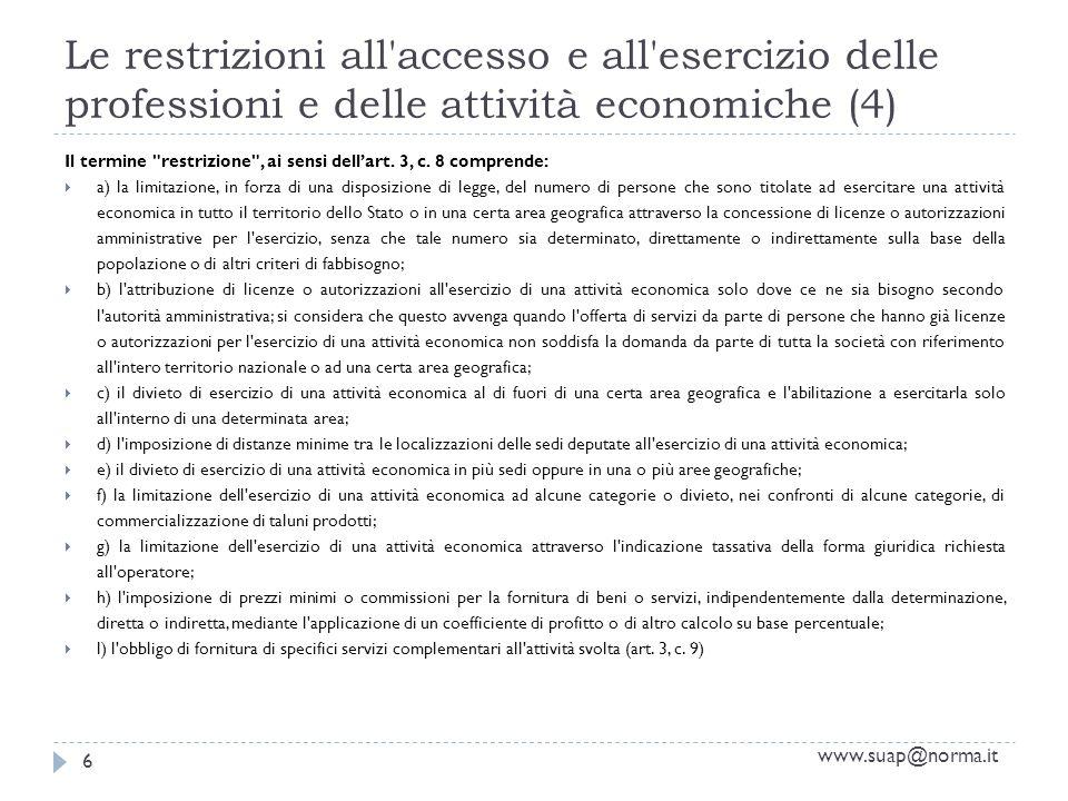 Le restrizioni all accesso e all esercizio delle professioni e delle attività economiche (4) www.suap@norma.it 6 Il termine restrizione , ai sensi dellart.