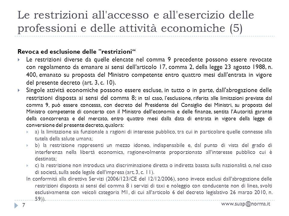 Le restrizioni all accesso e all esercizio delle professioni e delle attività economiche (5) www.suap@norma.it 7 Revoca ed esclusione delle restrizioni Le restrizioni diverse da quelle elencate nel comma 9 precedente possono essere revocate con regolamento da emanare ai sensi dell articolo 17, comma 2, della legge 23 agosto 1988, n.