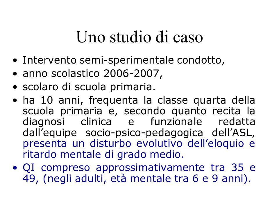 Uno studio di caso Intervento semi-sperimentale condotto, anno scolastico 2006-2007, scolaro di scuola primaria. ha 10 anni, frequenta la classe quart