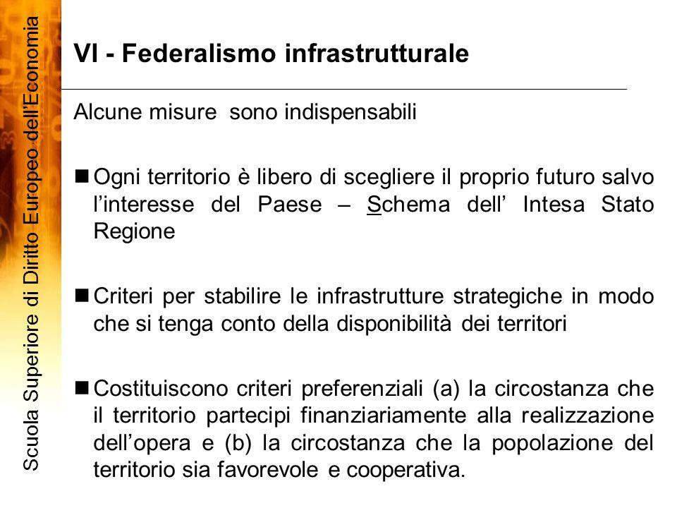 VI - Federalismo infrastrutturale Scuola Superiore di Diritto Europeo dellEconomia 10 Alcune misure sono indispensabili Ogni territorio è libero di sc