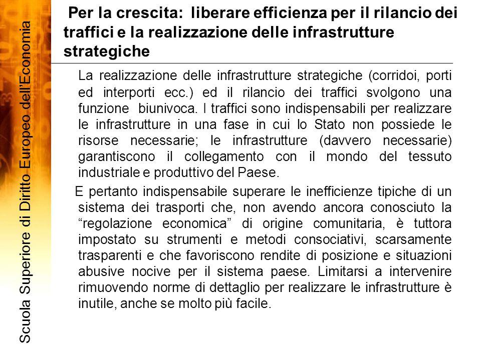 La realizzazione delle infrastrutture strategiche (corridoi, porti ed interporti ecc.) ed il rilancio dei traffici svolgono una funzione biunivoca. I