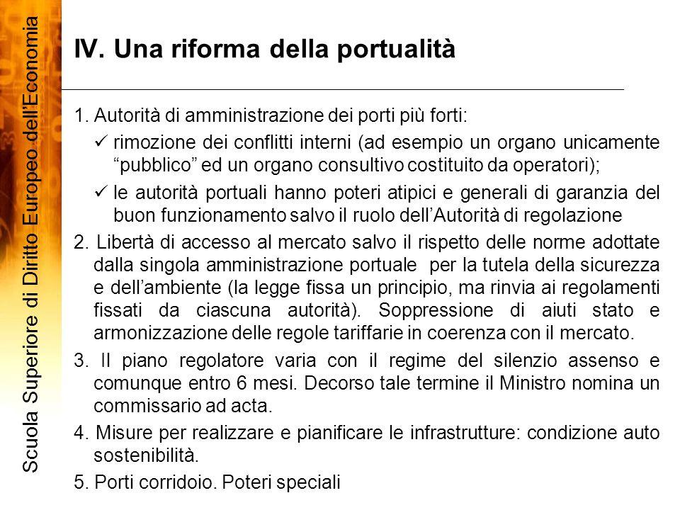 IV. Una riforma della portualità 7 1. Autorità di amministrazione dei porti più forti: rimozione dei conflitti interni (ad esempio un organo unicament