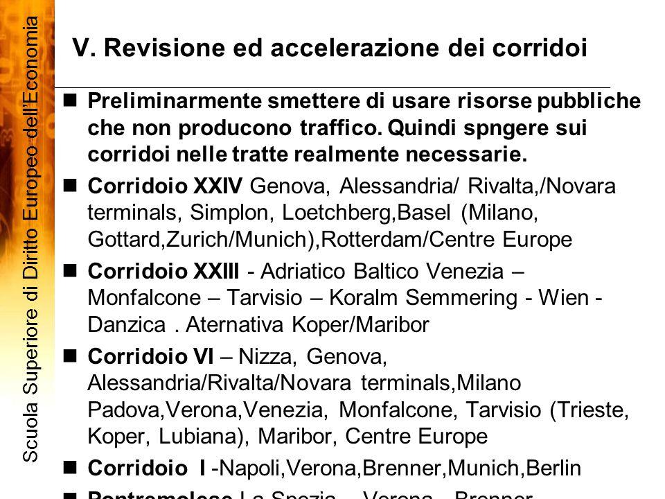 V. Revisione ed accelerazione dei corridoi Scuola Superiore di Diritto Europeo dellEconomia 8 Preliminarmente smettere di usare risorse pubbliche che