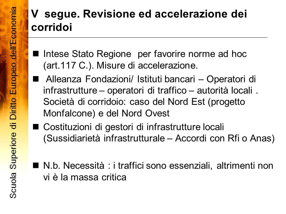 V segue. Revisione ed accelerazione dei corridoi Scuola Superiore di Diritto Europeo dellEconomia 9 Intese Stato Regione per favorire norme ad hoc (ar