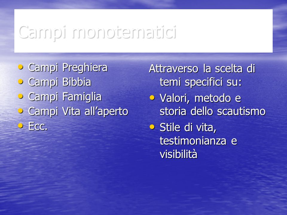 Campi monotematici Campi Preghiera Campi Preghiera Campi Bibbia Campi Bibbia Campi Famiglia Campi Famiglia Campi Vita allaperto Campi Vita allaperto Ecc.