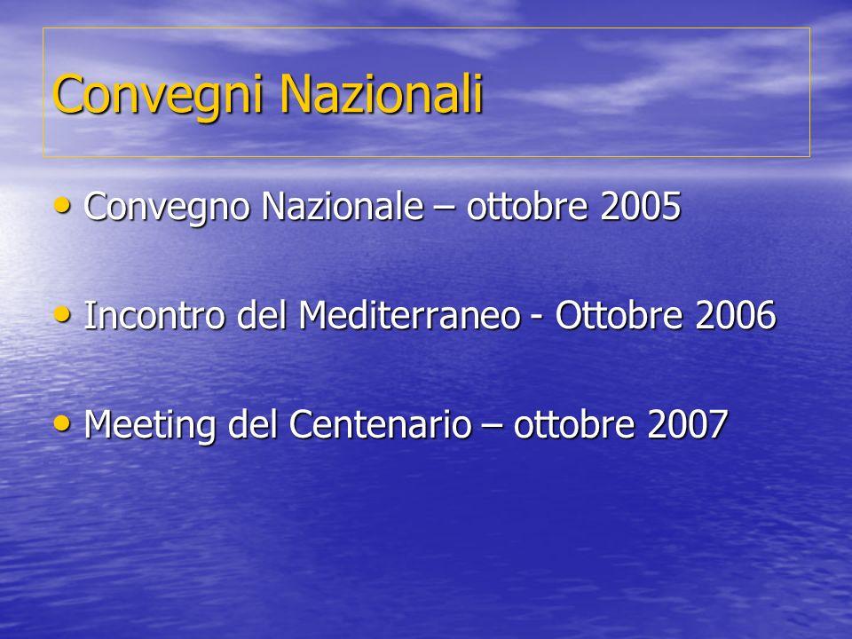 Convegni Nazionali Convegno Nazionale – ottobre 2005 Convegno Nazionale – ottobre 2005 Incontro del Mediterraneo - Ottobre 2006 Incontro del Mediterraneo - Ottobre 2006 Meeting del Centenario – ottobre 2007 Meeting del Centenario – ottobre 2007