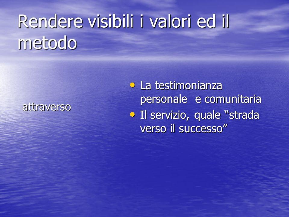 Rendere visibili i valori ed il metodo attraverso La testimonianza personale e comunitaria La testimonianza personale e comunitaria Il servizio, quale strada verso il successo Il servizio, quale strada verso il successo