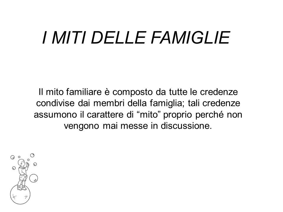 I MITI DELLE FAMIGLIE Il mito familiare è composto da tutte le credenze condivise dai membri della famiglia; tali credenze assumono il carattere di mito proprio perché non vengono mai messe in discussione.