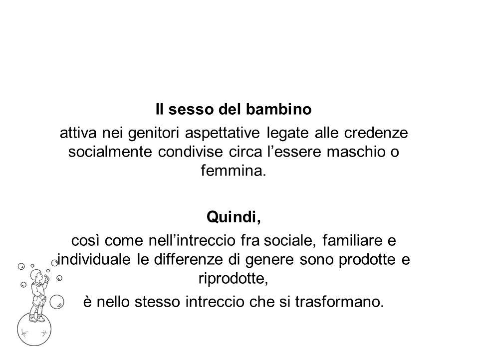 Il sesso del bambino attiva nei genitori aspettative legate alle credenze socialmente condivise circa lessere maschio o femmina.