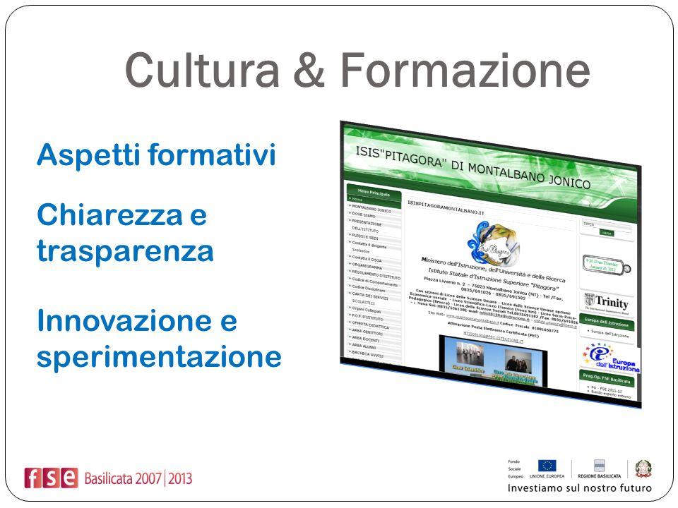 Cultura & Formazione Aspetti formativi Chiarezza e trasparenza Innovazione e sperimentazione