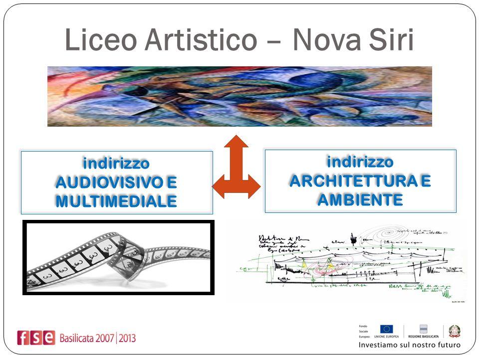 Liceo Artistico – Nova Siri indirizzo ARCHITETTURA E AMBIENTE indirizzo ARCHITETTURA E AMBIENTE indirizzo AUDIOVISIVO E MULTIMEDIALE indirizzo AUDIOVI