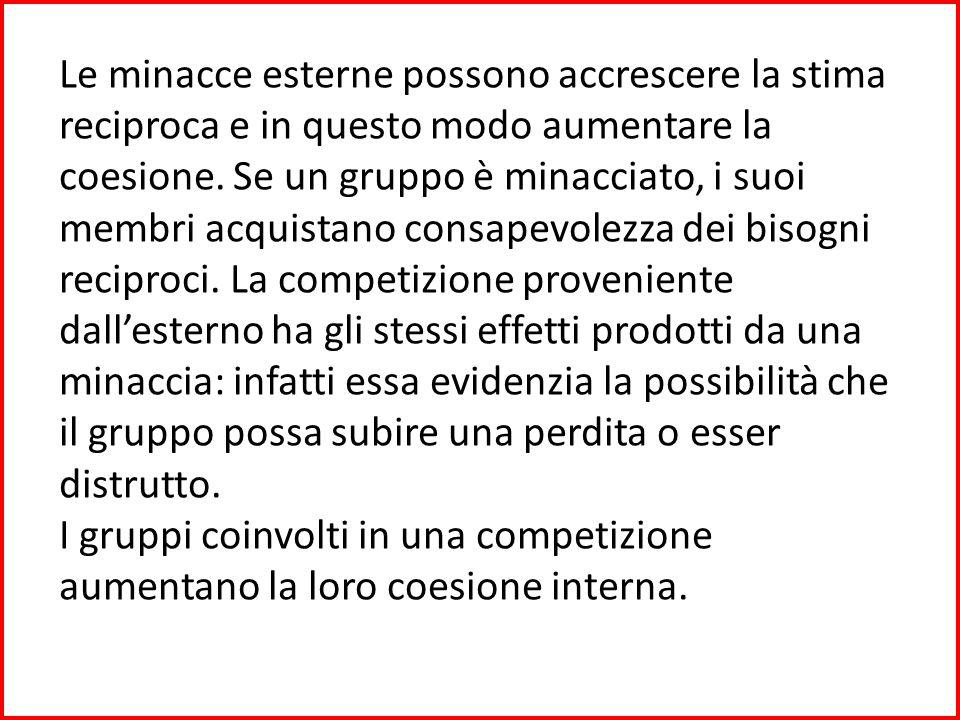 Mentre la competizione proveniente dallesterno può accrescere la coesione, la competizione che si può creare allinterno del gruppo può provocare effetti opposti.