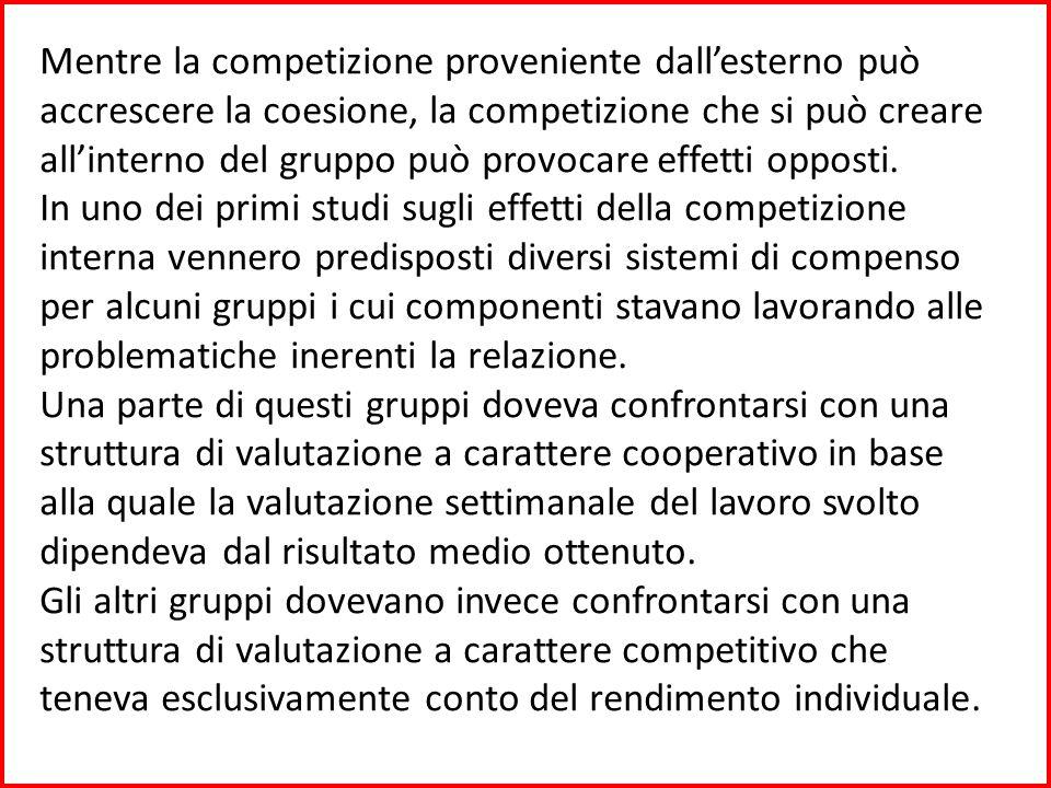 Le due diverse strutture di valutazione influirono in modo vistoso sul comportamento dei componenti del gruppo.