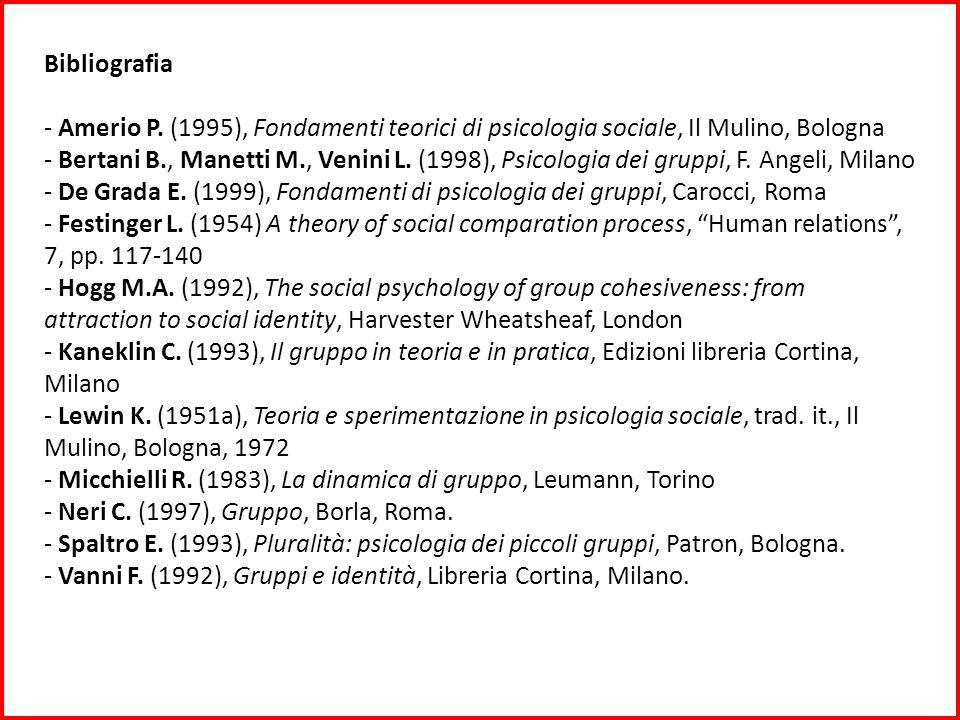 Bibliografia - Amerio P. (1995), Fondamenti teorici di psicologia sociale, Il Mulino, Bologna - Bertani B., Manetti M., Venini L. (1998), Psicologia d