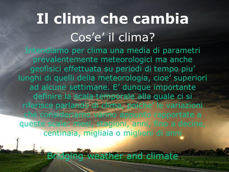 VIS - 24 Novembre 2007, Caserta Il clima che cambia Cose il clima? Intendiamo per clima una media di parametri prevalentemente meteorologici ma anche