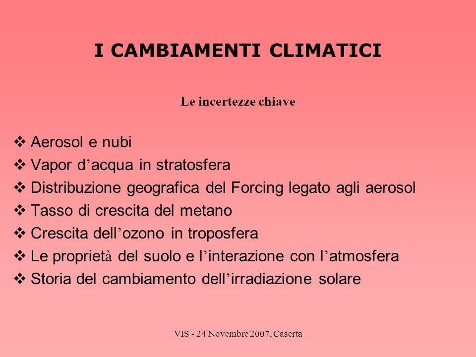 VIS - 24 Novembre 2007, Caserta I CAMBIAMENTI CLIMATICI Le incertezze chiave Aerosol e nubi Vapor d acqua in stratosfera Distribuzione geografica del