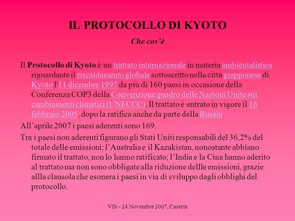 VIS - 24 Novembre 2007, Caserta IL PROTOCOLLO DI KYOTO Che cosè Il Protocollo di Kyoto è un trattato internazionale in materia ambientalistica riguard