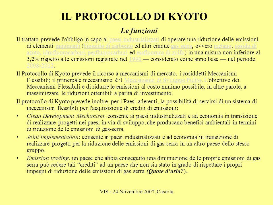 VIS - 24 Novembre 2007, Caserta IL PROTOCOLLO DI KYOTO Le funzioni Il trattato prevede l'obbligo in capo ai paesi industrializzati di operare una ridu