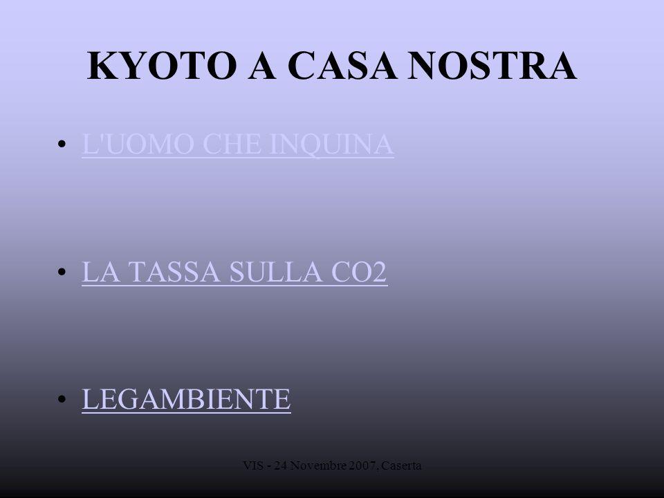 VIS - 24 Novembre 2007, Caserta KYOTO A CASA NOSTRA L'UOMO CHE INQUINA LA TASSA SULLA CO2 LEGAMBIENTE