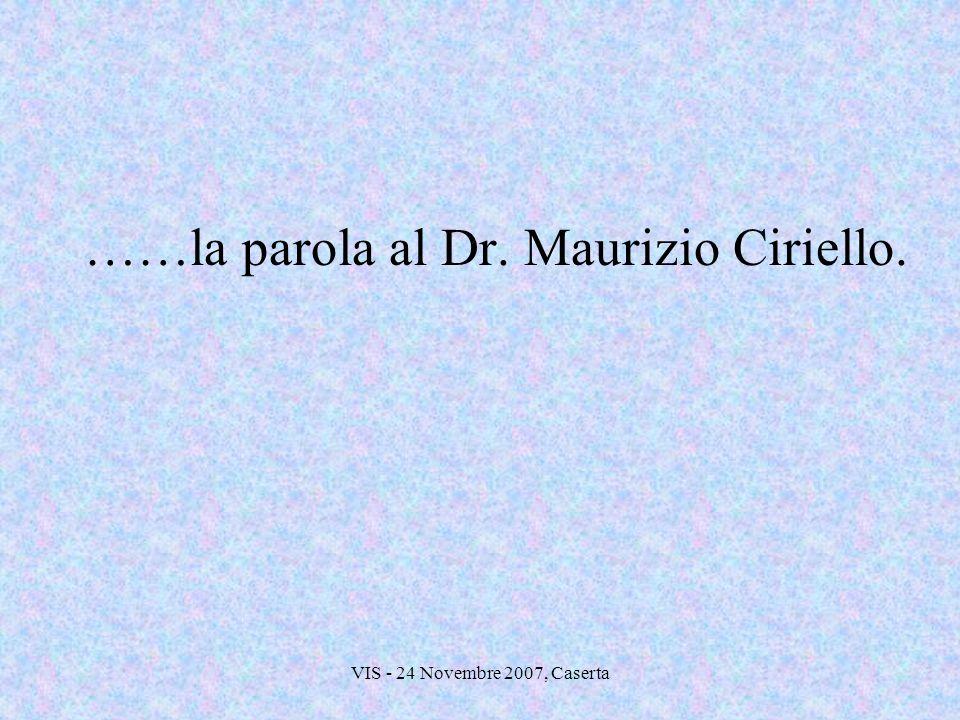 VIS - 24 Novembre 2007, Caserta ……la parola al Dr. Maurizio Ciriello.