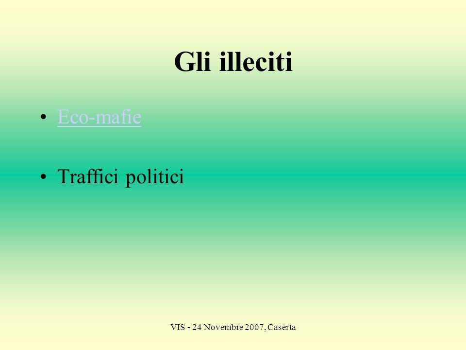 VIS - 24 Novembre 2007, Caserta Gli illeciti Eco-mafie Traffici politici