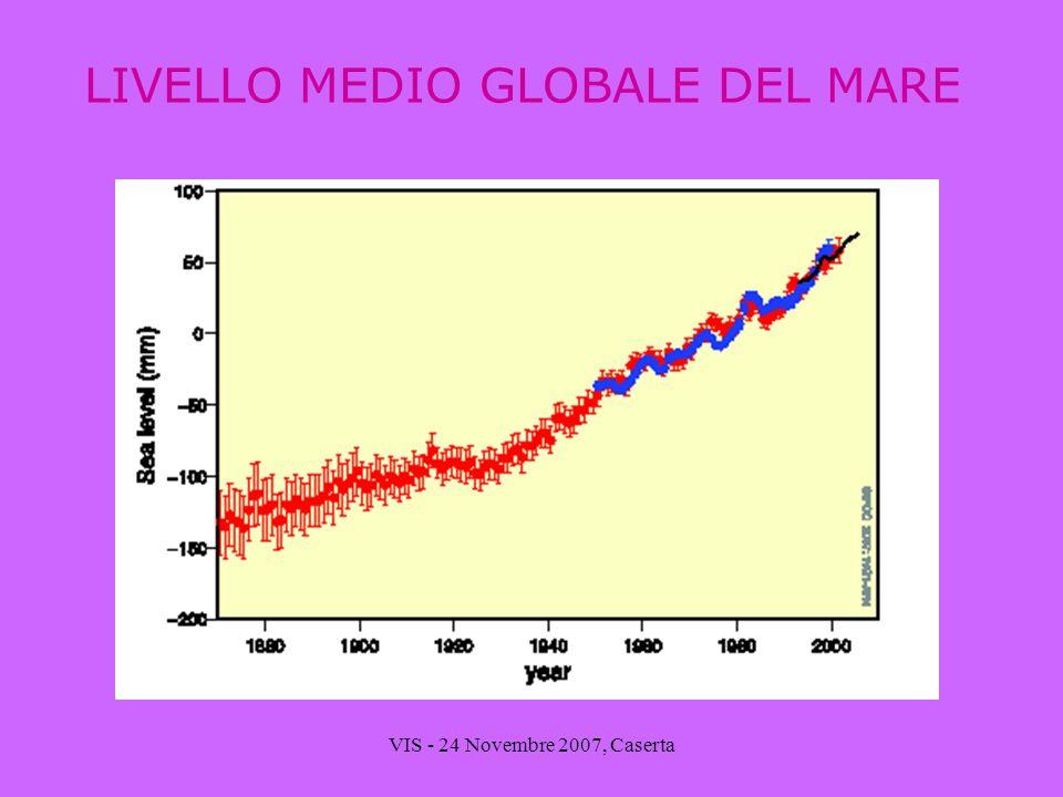 VIS - 24 Novembre 2007, Caserta LIVELLO MEDIO GLOBALE DEL MARE