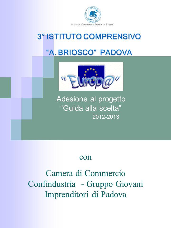 2012-2013 Adesione al progetto Guida alla scelta 3° ISTITUTO COMPRENSIVO A. BRIOSCO PADOVA con Camera di Commercio Confindustria - Gruppo Giovani Impr