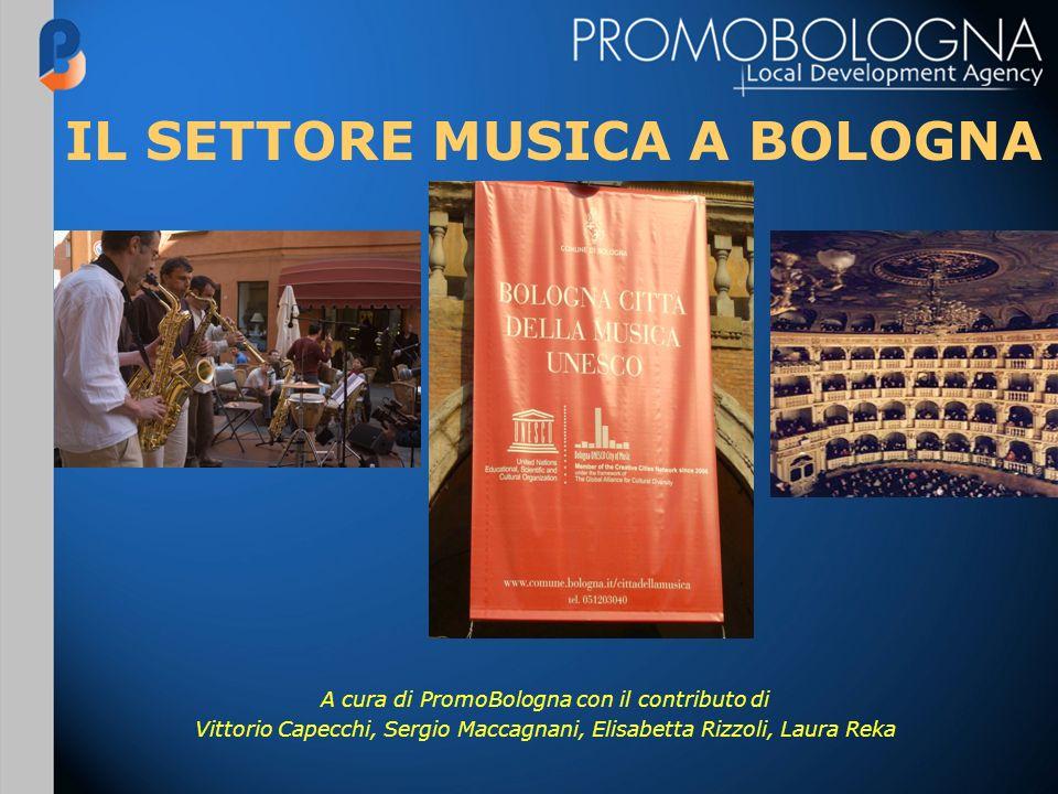 IL SETTORE MUSICA A BOLOGNA A cura di PromoBologna con il contributo di Vittorio Capecchi, Sergio Maccagnani, Elisabetta Rizzoli, Laura Reka