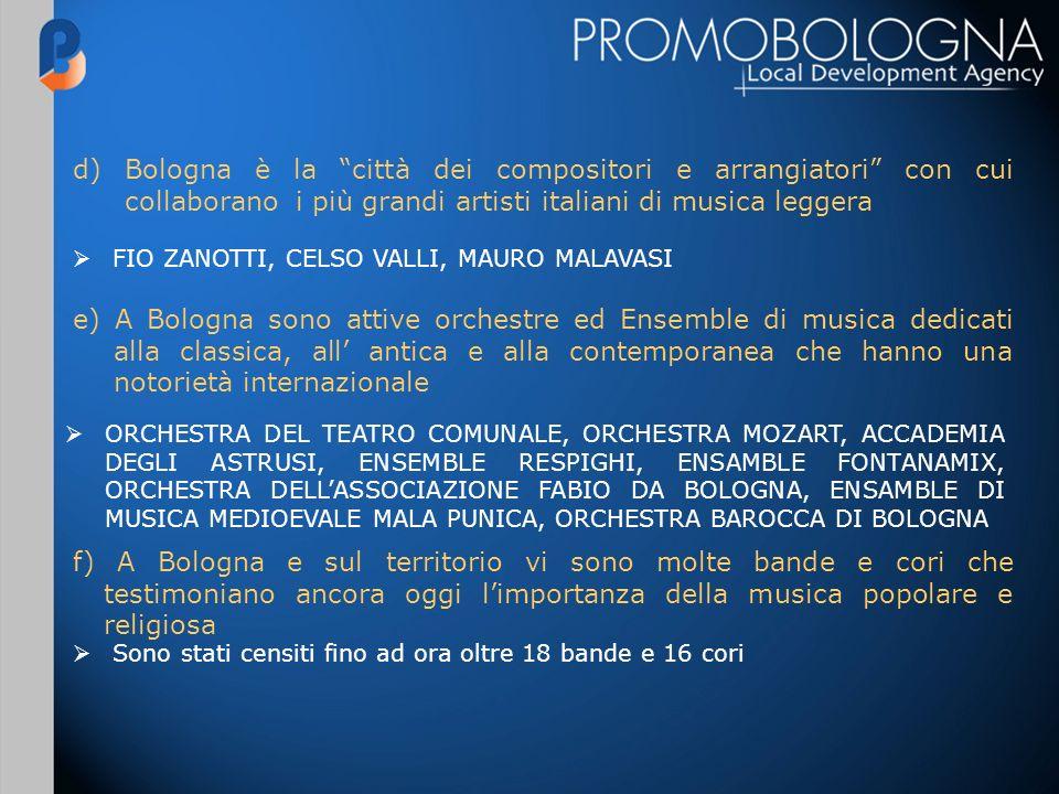 e) A Bologna sono attive orchestre ed Ensemble di musica dedicati alla classica, all antica e alla contemporanea che hanno una notorietà internazionale ORCHESTRA DEL TEATRO COMUNALE, ORCHESTRA MOZART, ACCADEMIA DEGLI ASTRUSI, ENSEMBLE RESPIGHI, ENSAMBLE FONTANAMIX, ORCHESTRA DELLASSOCIAZIONE FABIO DA BOLOGNA, ENSAMBLE DI MUSICA MEDIOEVALE MALA PUNICA, ORCHESTRA BAROCCA DI BOLOGNA f) A Bologna e sul territorio vi sono molte bande e cori che testimoniano ancora oggi limportanza della musica popolare e religiosa Sono stati censiti fino ad ora oltre 18 bande e 16 cori d) Bologna è la città dei compositori e arrangiatori con cui collaborano i più grandi artisti italiani di musica leggera FIO ZANOTTI, CELSO VALLI, MAURO MALAVASI