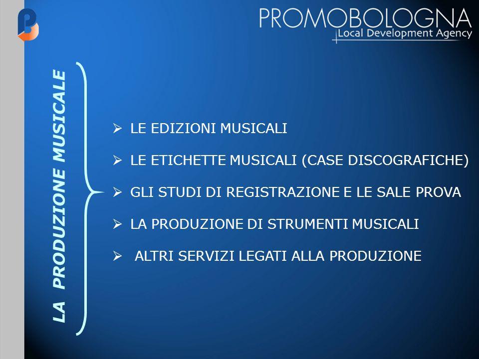 LE EDIZIONI MUSICALI LE ETICHETTE MUSICALI (CASE DISCOGRAFICHE) GLI STUDI DI REGISTRAZIONE E LE SALE PROVA LA PRODUZIONE DI STRUMENTI MUSICALI ALTRI SERVIZI LEGATI ALLA PRODUZIONE LA PRODUZIONE MUSICALE