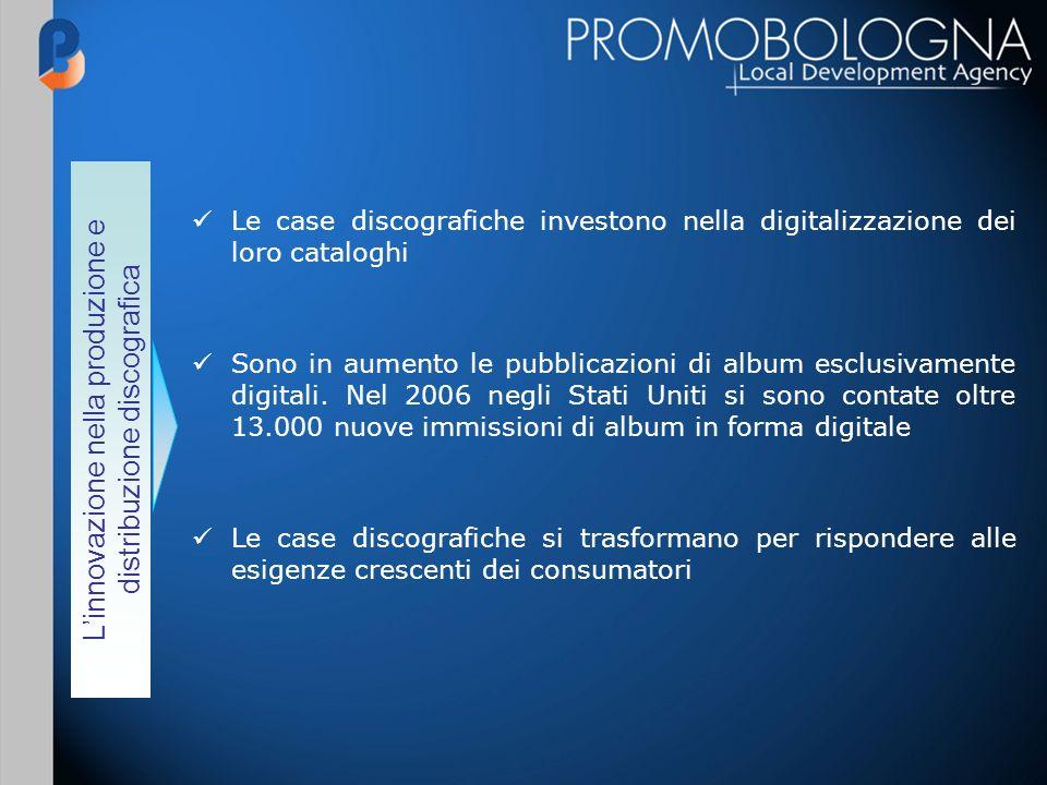 Linnovazione nella produzione e distribuzione discografica Le case discografiche investono nella digitalizzazione dei loro cataloghi Sono in aumento le pubblicazioni di album esclusivamente digitali.