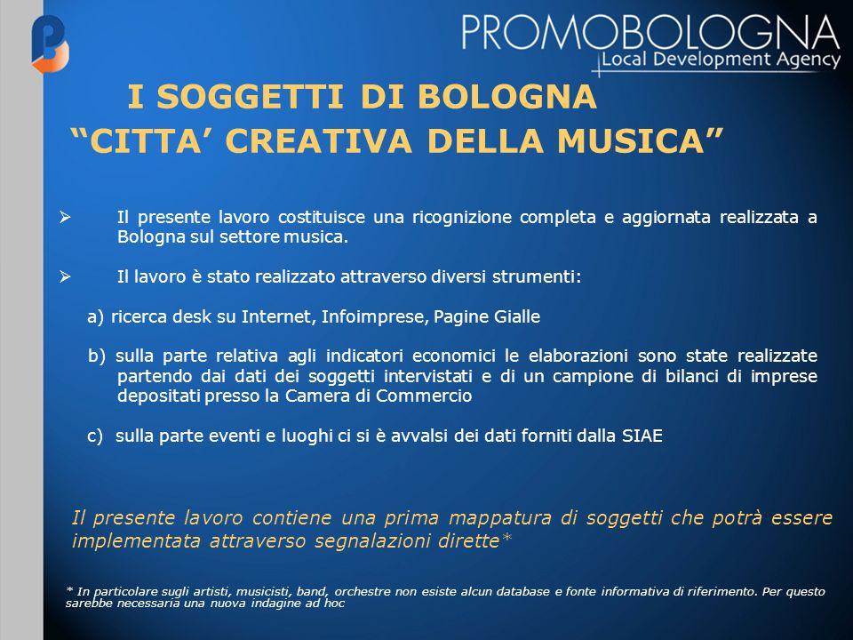 GLI ARTISTI DI BOLOGNA a) Bologna è nota in Italia come città della musica per la grande notorietà dei cantautori e dei cantanti strettamente legati alla città BIAGIO ANTONACCI, FREAK ANTONI, SAMUELE BERSANI, LUCA CARBONI, CESARE CREMONINI CRISTINA DAVENA, LUCIO DALLA, FRANCESCO GUCCINI, CLAUDIO LOLLI, ANDREA MINGARDI, GIANNI MORANDI, VASCO ROSSI, GLI STADIO, CRISTINA ZAVALLONI La produzione musicale di questi artisti, gli spettacoli dal vivo e televisivi hanno prodotto e producono valore aggiunto creando un indotto economico ed occupazionale molto importante per la città Sono stati censiti fino ad ora oltre 100 band ed artisti di Bologna c) Bologna ha una storia riconosciuta come città del jazz che ancora oggi è testimoniata dalla presenza di artisti di fama nazionale PAOLO FRESU, TEO CIAVARELLA, STEVE GROSSMAN, ALMA JAZZ ORCHESTRA b) A Bologna sono attivi molti giovani artisti e band emergenti che tentano di seguire questa tradizione di successo