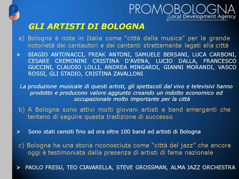 GLI ARTISTI DI BOLOGNA a) Bologna è nota in Italia come città della musica per la grande notorietà dei cantautori e dei cantanti strettamente legati a