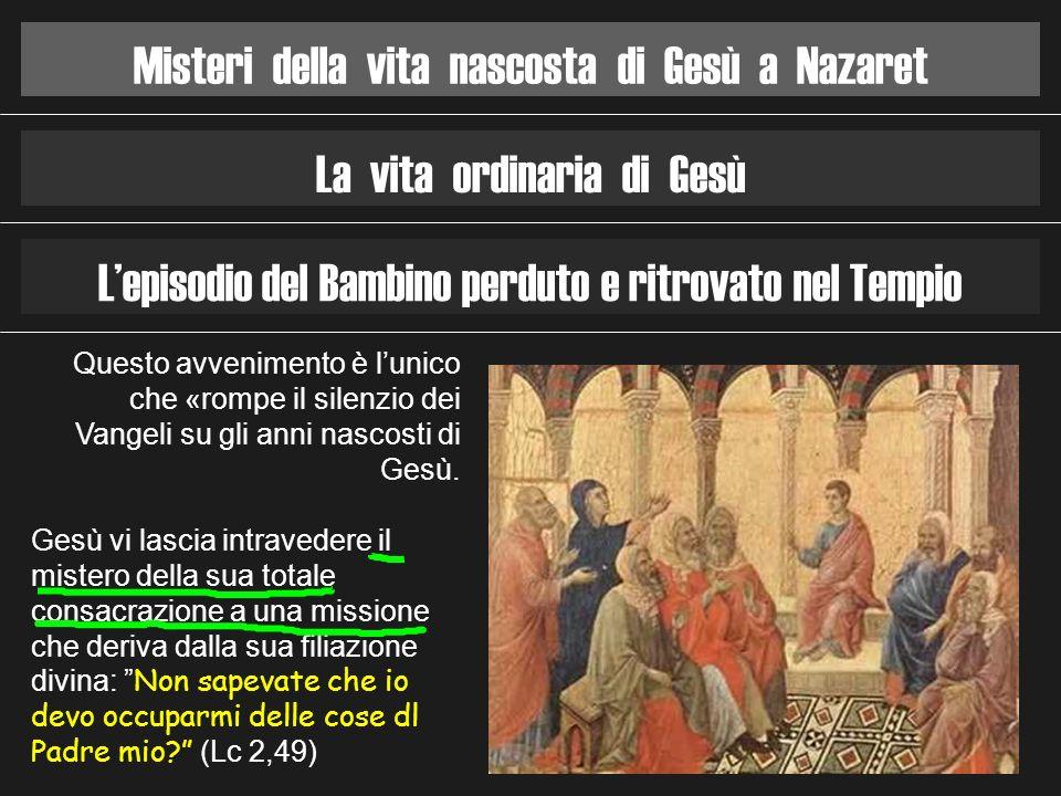 Misteri della vita nascosta di Gesù a Nazaret La vita ordinaria di Gesù Lepisodio del Bambino perduto e ritrovato nel Tempio Questo avvenimento è luni