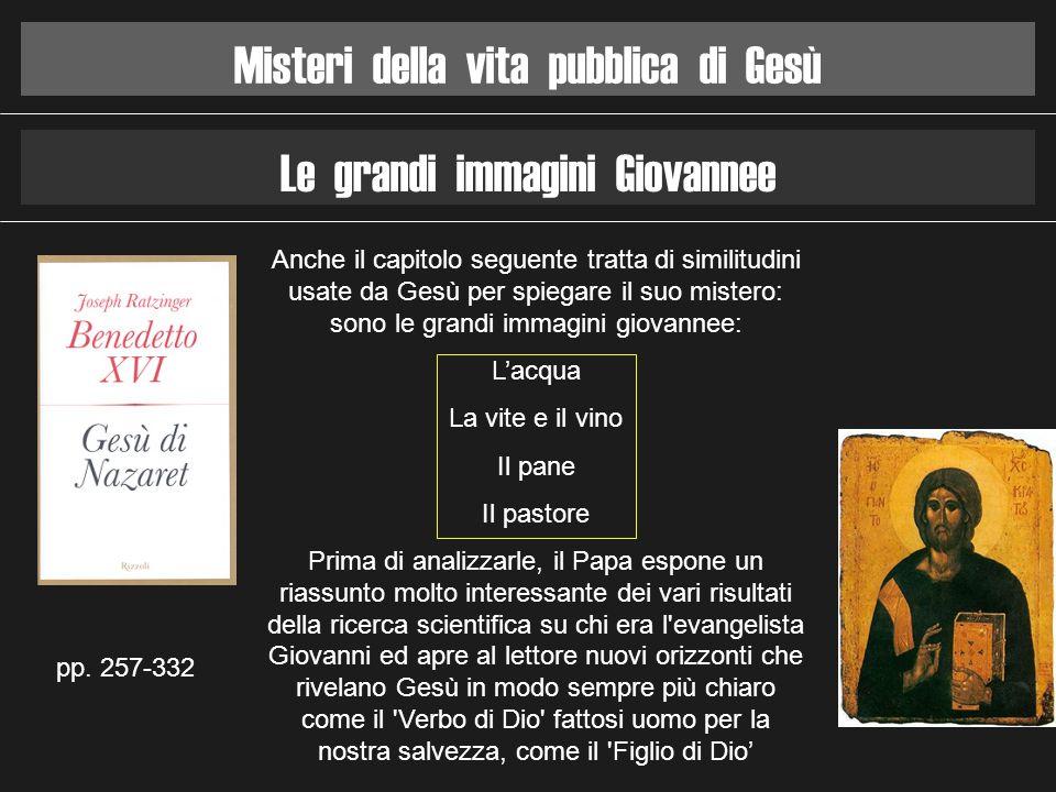 Misteri della vita pubblica di Gesù Le grandi immagini Giovannee pp. 257-332 Anche il capitolo seguente tratta di similitudini usate da Gesù per spieg