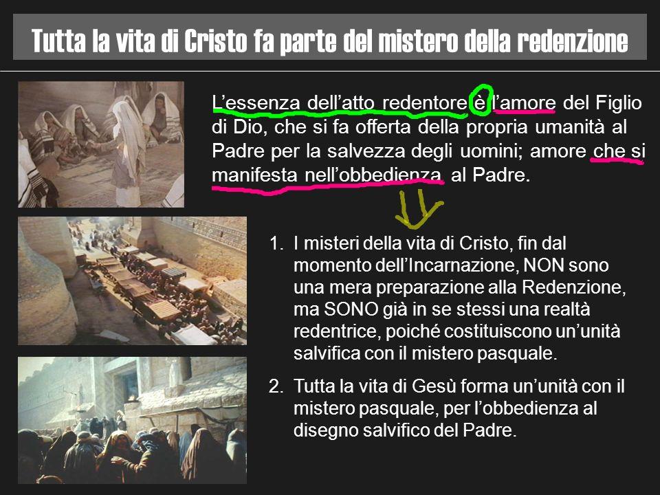 Tutta la vita di Cristo fa parte del mistero della redenzione 1.I misteri della vita di Cristo, fin dal momento dellIncarnazione, NON sono una mera pr