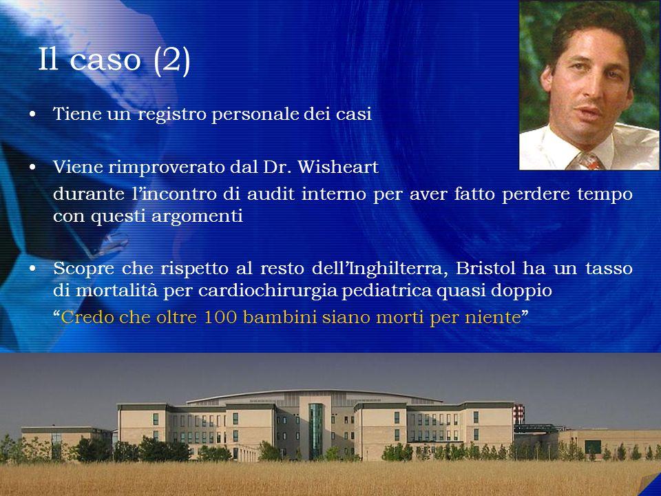 Il caso (2) Tiene un registro personale dei casi Viene rimproverato dal Dr. Wisheart durante lincontro di audit interno per aver fatto perdere tempo c