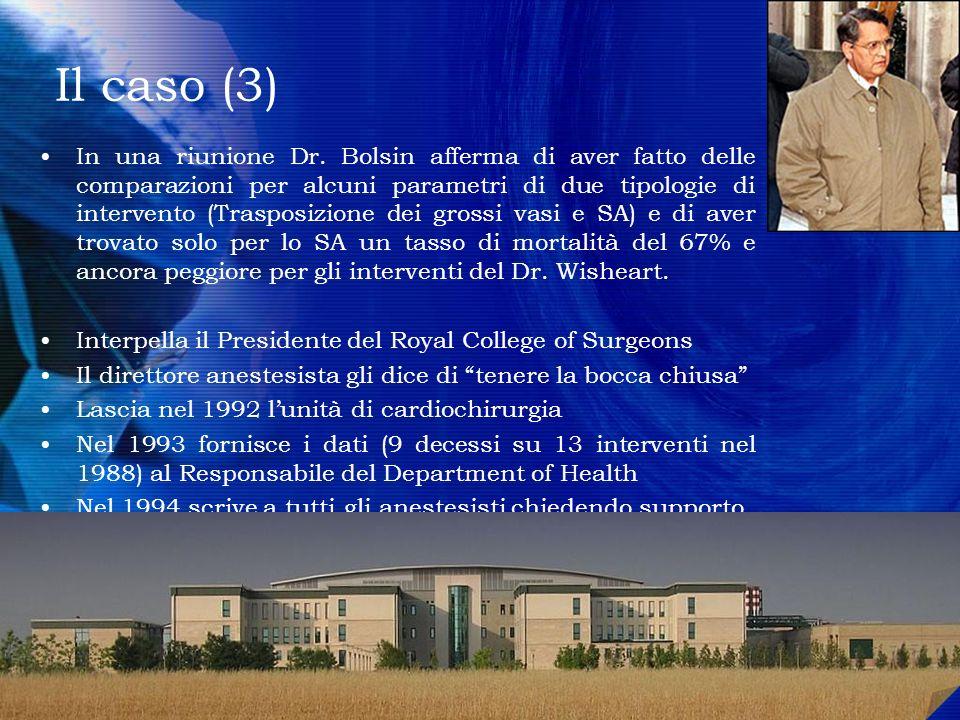 Il caso (3) In una riunione Dr. Bolsin afferma di aver fatto delle comparazioni per alcuni parametri di due tipologie di intervento (Trasposizione dei